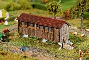 Faller Horizontal Wood Corn Crib Kit HO Scale Model Railroad Building #130532