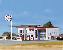 Faller Service/Gas Station Kit HO Scale Model Railroad Building #131258