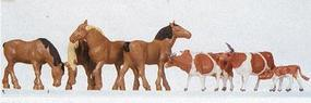 Faller 4 Brown Horses/4 Brown Cows HO Scale Model Railroad Figure #154002