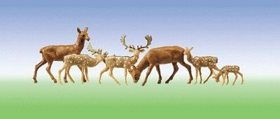 Faller Gmbh Fallow Deer & Red Deer (12) -- HO Scale Model Railroad Figure -- #154007