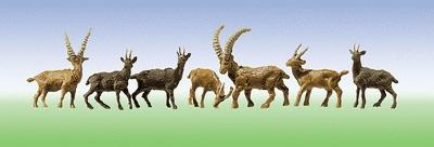 Faller Gmbh Alpine Mountain Goats, 4 Chamois & 6 Ibex -- HO Scale Model Railroad Figure -- #154009