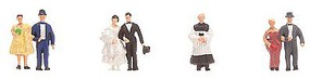 Faller Bride, Groom, Vicar, 2 Couples N Scale Model Railroad Figure #155330