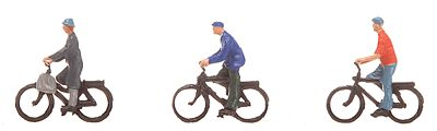 Faller Gmbh Bicyclists on Bikes (2 Men & 1 Woman) -- N Scale Model Railroad Figure -- #155333