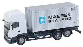 Faller Scania R 13 TL Container Truck w/Load Car System Maersk Sealand (white Tracto-, gray, black & blue Container)
