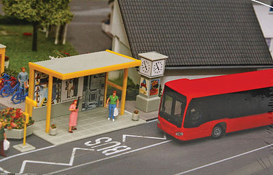 Faller Gmbh Car System Bus Stop Set -- HO Scale Model Railroad Road Accessory -- #161653