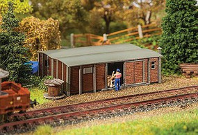 Faller Wood European Boxcar Shed Weathered Laser-Cut Wood Kit - 3-11/16 x 2-11/16 x 1-1/2 9.4 x 6.8 x 3.9c