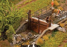 Faller Hand-Crank Stream Dam Kit HO Scale Model Railroad Building Accessory #180390