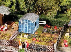 Faller Garden with Contractors Trailer Kit HO Scale Model Railroad Building #180490