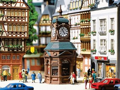 Faller Four-Face Clock Tower with Newstand HO Scale Model Railroad Building #180583