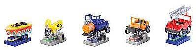 Faller Gmbh Kiddie Ride Machines (5 Pack) -- HO Scale Model Railroad Building Accessory -- #180608