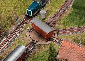 Faller Wood-Deck Freight Car Turntable w/Servo Drive Kit N Scale Model Railroad Accessory #222114