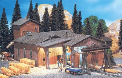 Faller Sawmill w/Built-On Sawdust Tower & Small Crane Kit N Scale Model Railroad Building #232248