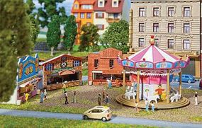 Faller Fun Fair Set w/Motorized Carousel & Game Booths Kit N Scale Model Railroad Accessory #242301