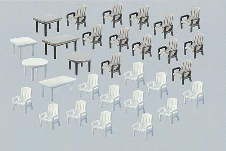 Faller Gmbh 6 Tables & 24 Patio Chairs -- N Scale Model Railroad Building Accessory -- #272441
