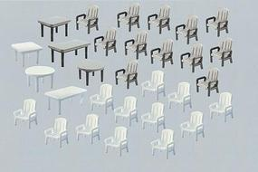 Faller 6 Tables & 24 Patio Chairs N Scale Model Railroad Building Accessory #272441