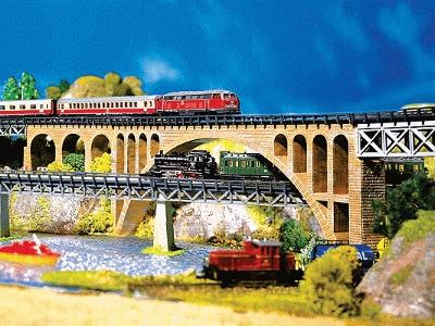 Faller Gmbh Stone Arch Bridge Kit -- Z Scale Model Railroad Bridge -- #282924