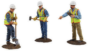 First-Gear Die Cast Construction Figure Set #2 One Each- Site Supervisor, Digging w/Shovel, Holding Sledgehammer 1/50 Scale