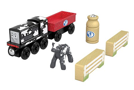 Fisher-Price Diesels Dairy Drop Off - Thomas and Friends(TM) Wooden Railway Diesel in Cow Paint, gondola with Milk Can, Cow and 2 Fence Sections