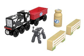 Fisher-Price Diesel's Dairy Drop Off Thomas and Friends(TM) Wooden Railway Diesel in Cow Paint, gondola with Milk Can, Cow and 2 Fence Sections