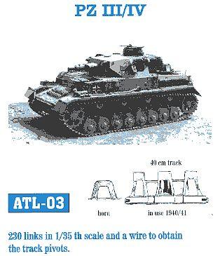 fruilmodel pz iii iv mod 1940 41 tank track link set 230 links