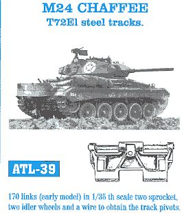 Fruilmodel M24 Chaffe T72E1 Early Tank Track Link Set (170 Links) Plastic Model Tank Tracks 1/35 #39