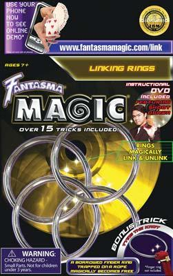 Fantasma Toys Linking Rings with DVD -- Magic -- #509dv