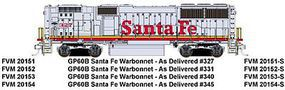 Fox GP60B ATSF 345 with Sound HO Scale Model Train Diesel Locomotive #20154-s