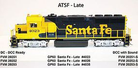 Fox GP60 DC ATSF #4026 HO Scale Model Train Diesel Locomotive #20252