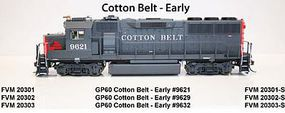 Fox GP60 DC Cotton Belt #9629 HO Scale Model Train Diesel Locomotive #20302