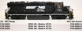 Fox GP60 DC Norfolk Southern #7138 HO Scale Model Train Diesel Locomotive #20553