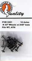 Fox 33 Wheels pkg(12) - .540 Axle N Scale Model Train Truck #3301