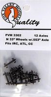 Fox 33 Wheels pkg(12) - .553 Axle N Scale Model Train Truck #3302