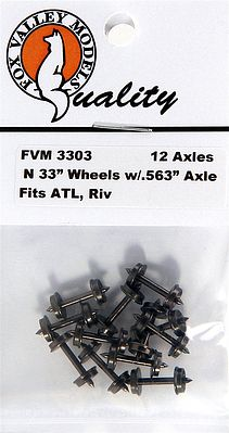 Fox 33 Wheels pkg(12) (.563 Axle) N Scale Model Train Truck #3303