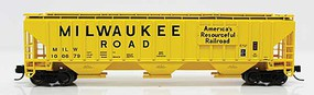 Fox 4750 Cu.Ft. 3-Bay Covered Hopper - Ready to Run Milwaukee Road 100698 (yellow, Americas Resourceful Railroad Slogan) - N-Scale