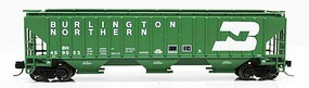 Fox 4750 Cu.Ft. 3-Bay Covered Hopper - Ready to Run Burlington Northern 459553 (1970s Cascade Green, white, Large Logo) - N-Scale