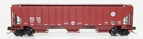 Fox 4740 Cu.Ft. 3-Bay Covered Hopper Ready to Run Burlington Northern Santa Fe 433183 (Boxcar Red, Circle-Cross Logo) N-Scale