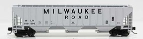 Fox 4740 Cu.Ft. 3-Bay Covered Hopper - Ready to Run Milwaukee Road 100645 (gray, Billboard Lettering) - N-Scale