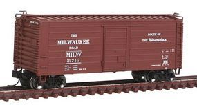 Fox Short-Rib 40 Rib-Side Boxcar Milwaukee Road #21715 N Scale Model Train Freight Car #90223