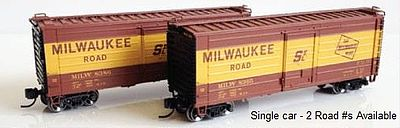 Fox Valley Models 40' Boxcar Milwaukee Road 8386 -- N Scale Model Train Freight Car -- #90268