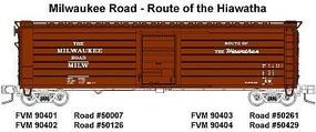 Fox 50 Single-Door Rib-Side Boxcar Milwaukee Road #50261 N Scale Model Train Freight Car #90403