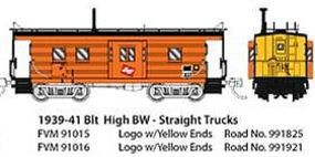 Fox High-Window Rib-Side Caboose Milwaukee Road #99 N Scale Model Train Freight Car #91016
