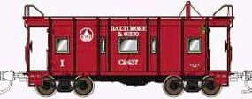 Fox B&O I-12 Wagontop Bay Window Caboose Baltimore & Ohio N Scale Model Train Freight Car #91203