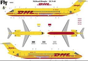 Fly-Models 1/144 DC9-40 DHL Commercial Airliner