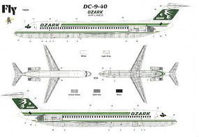 Fly-Models DC9-40 Ozark Commercial Airliner Plastic Model Airplane Kit 1/144 Scale #14424
