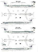 Fly-Models DC9-50 North Central/Republic Commercial Airliner Plastic Model Airplane Kit 1/144 #14428