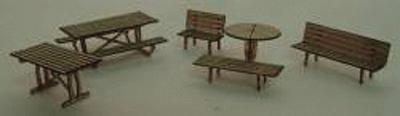 GCLaser Tables & Chairs Kit (Laser-Cut Wood) - Builds 19 Items N Scale Model Railroad #1103