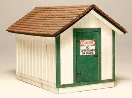 GCLaser Gas House Kit (Laser-Cut Wood) HO Scale Model Railroad Building #1294