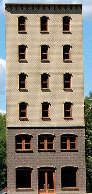 GCLaser 6-Story Arched Window Office Backdrop Kit HO Scale Model Building #190201