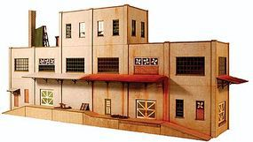 GCLaser 3-Story Concrete Industrial Backdrop Kit HO Scale Model Building #1904