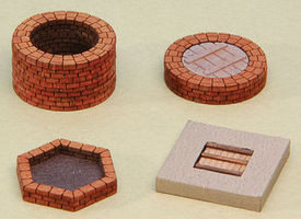 GCLaser Wells & Burn (Fire) Pit Laser-Cut Matboard Kit - 4 Structures
